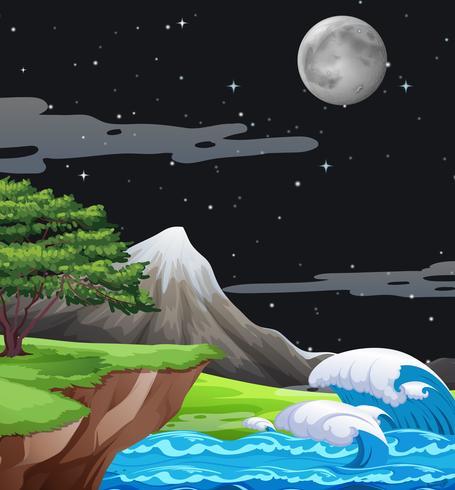 Eine Naturlandschaft bei Nacht