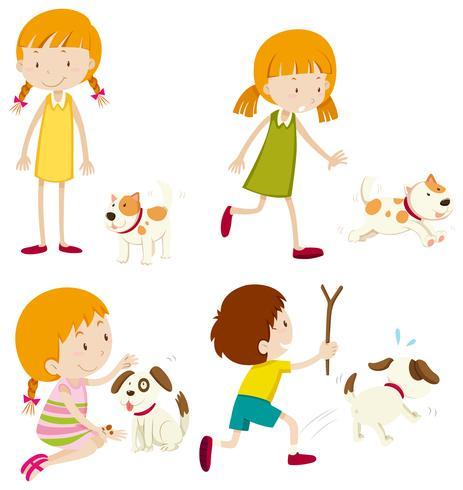 Set van verschillende jonge kinderen en honden