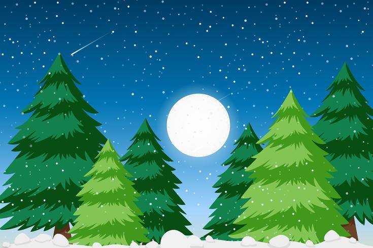 Schneewald-Hintergrundszene