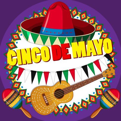 Diseño de cartel para cinco de mayo con sombrero y guitarra.