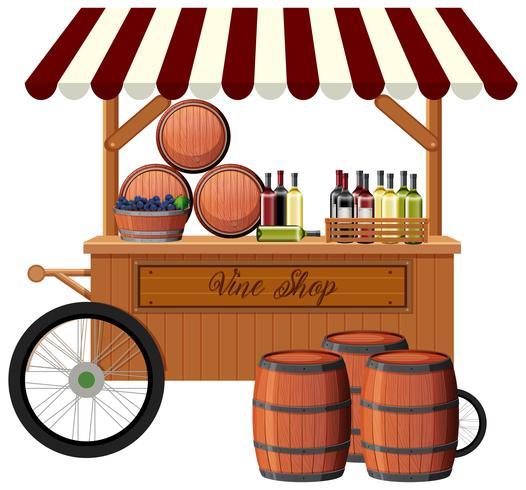 Loja de vinhos no fundo branco
