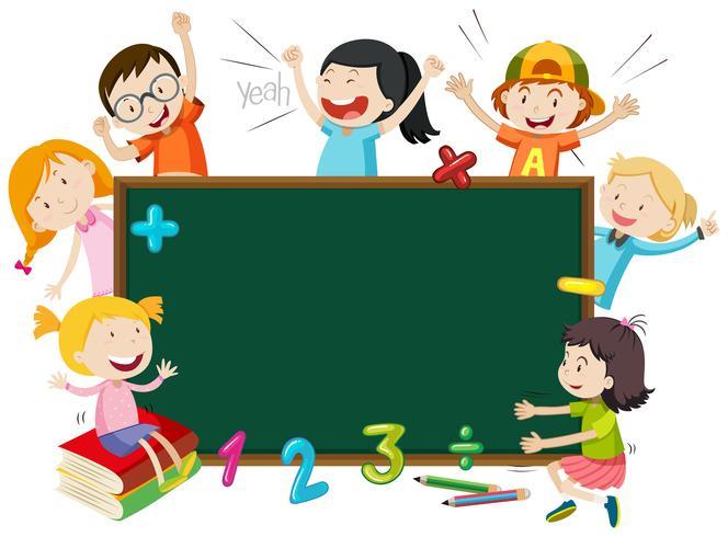 Kinderen op blackboard banner vector