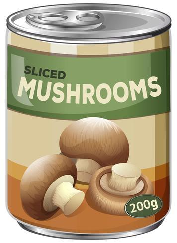 A Funghi affettati in lattina su sfondo bianco