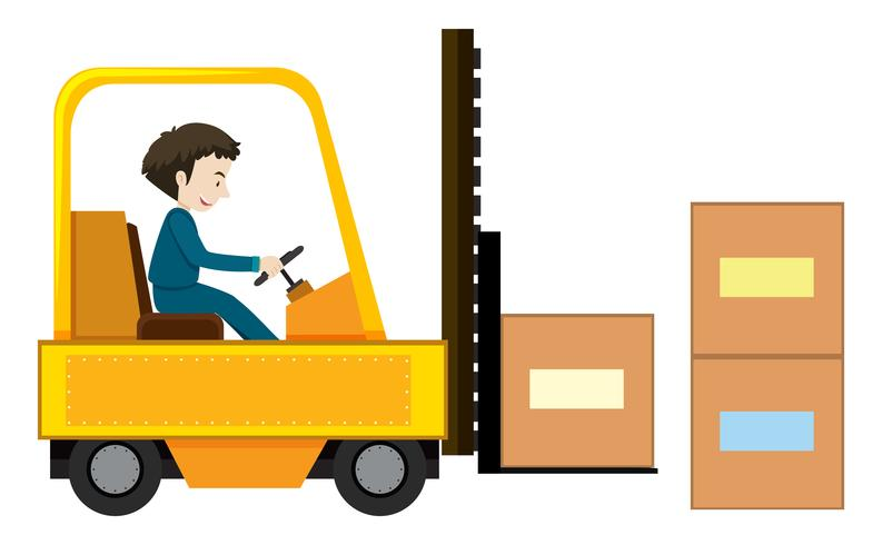Un homme conduisant un chariot élévateur