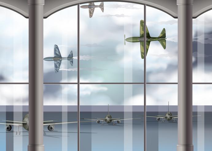 Militära flygplan på flygplatsen