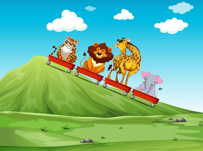 Vilt djur ridning på röd vagn