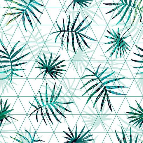 Modèle exotique sans couture avec palmier tropical laisse sur fond géométrique.