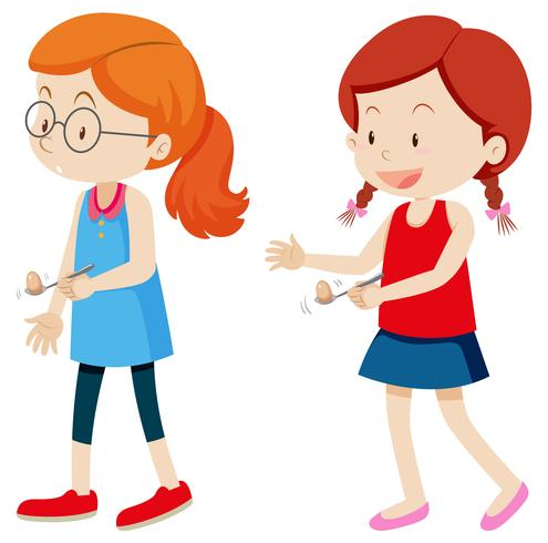 Mädchen und Eierlöffelrennen