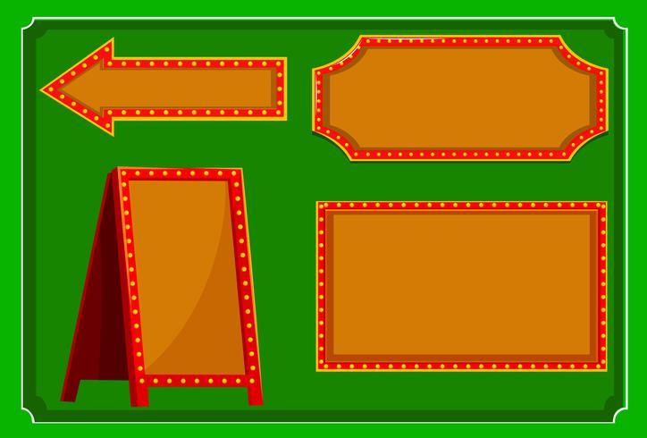 Verschillende ontwerpen van tekens met rode rand