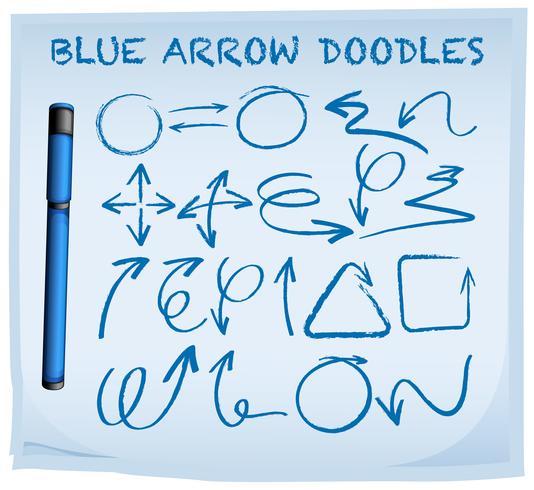 Blaue Pfeilgekritzel auf blauem Papier