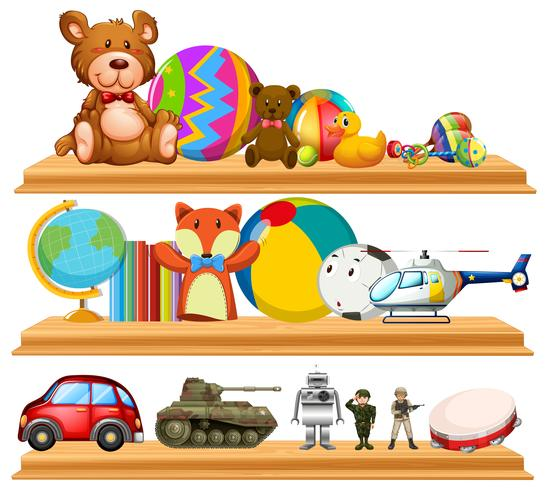 Many cute toys on wooden shelves vector