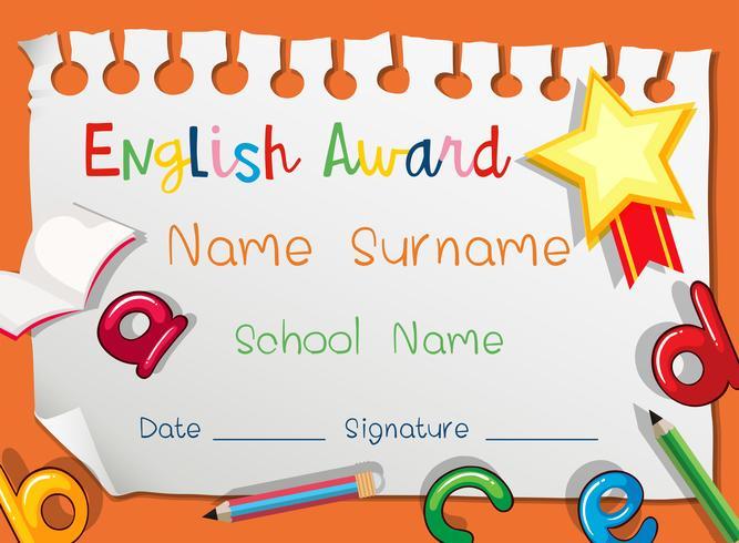 Plantilla de certificado para premio de inglés