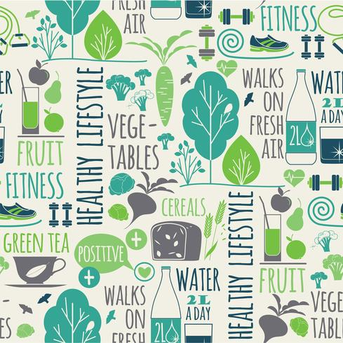Healthy lifestyle seamless background