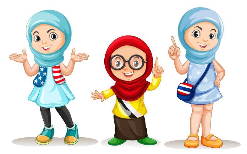 Drie moslimmeisjes met blij gezicht