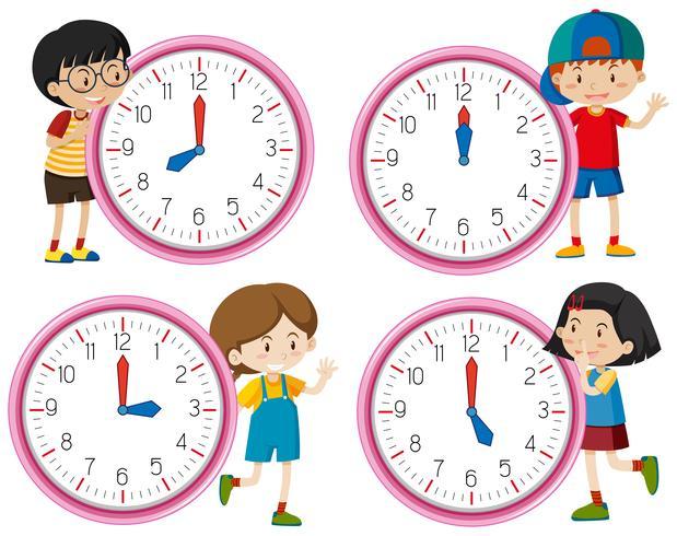 Uhr mit Kinderzeichen
