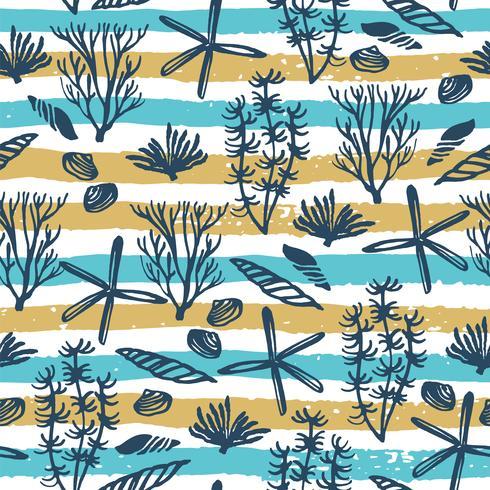 Trendy zee naadloze patroon met hand textuur en geometrische elementen.
