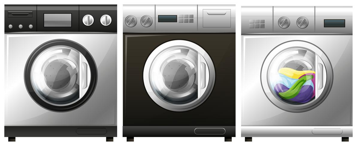 Washing machine with laundry inside vector