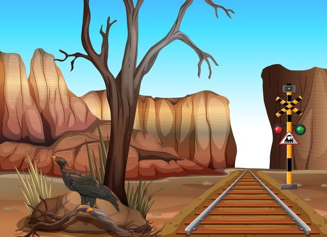 Trilha do trem através dos canyons vetor