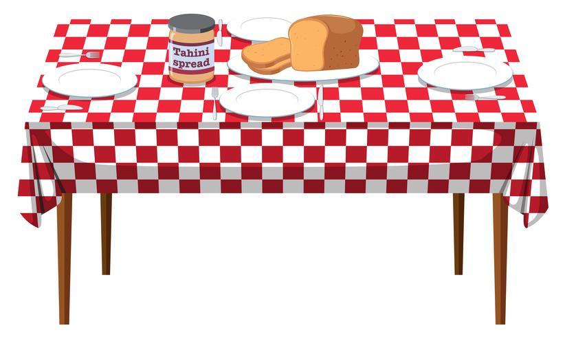 Ein Frühstückstisch auf weißem Hintergrund