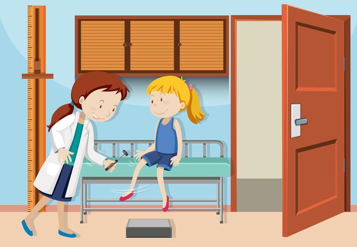 Une fille vérifie avec le docteur