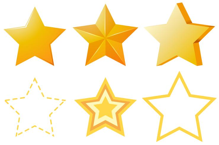 Verschillende ontwerpen van gouden sterren