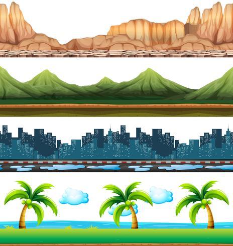 Quatre scènes de ville et de nature