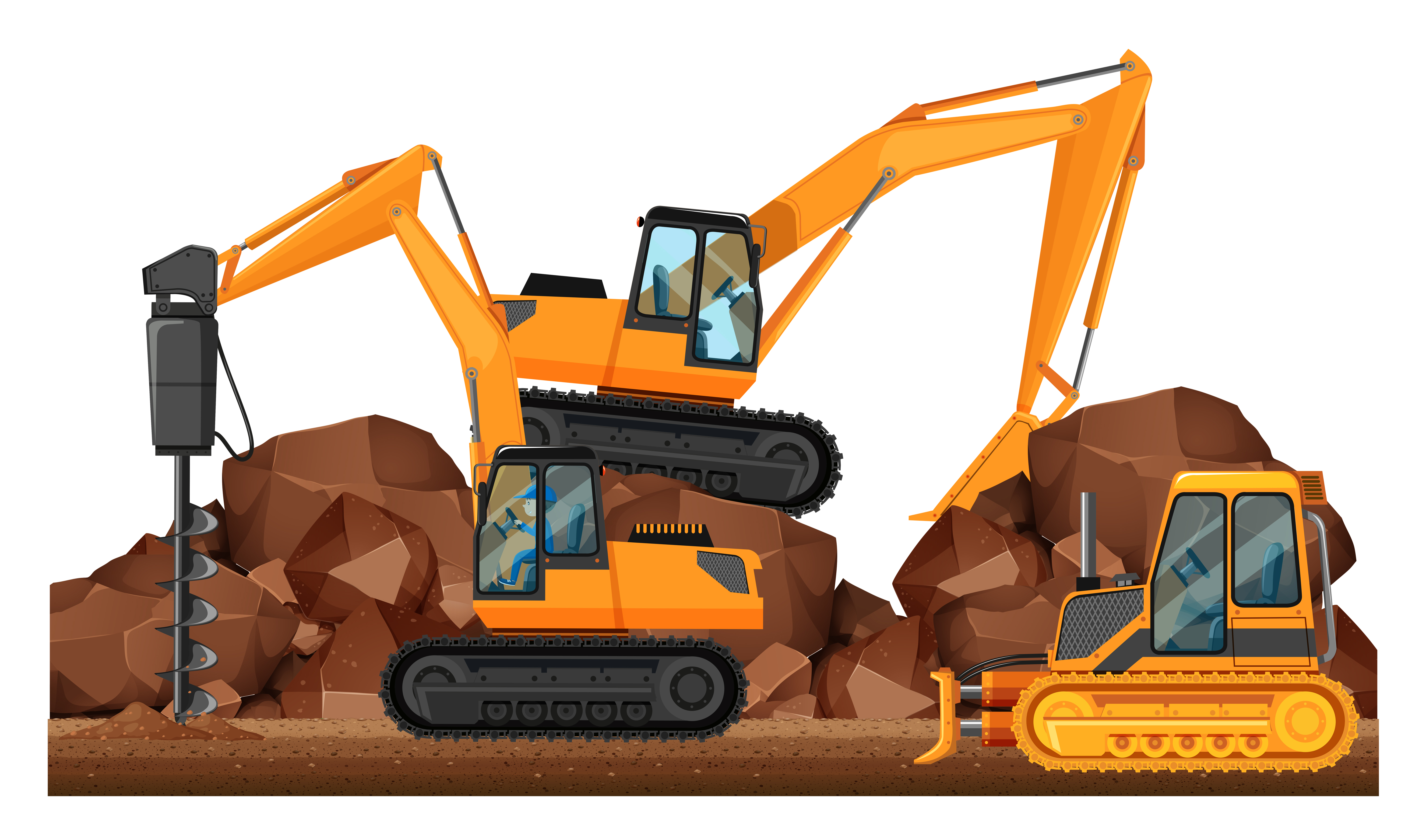 Construction vehicles working at site - Download Free ...
