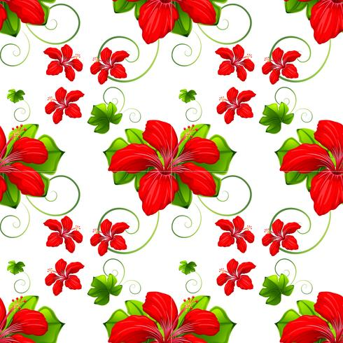 Seamless background with red flowers