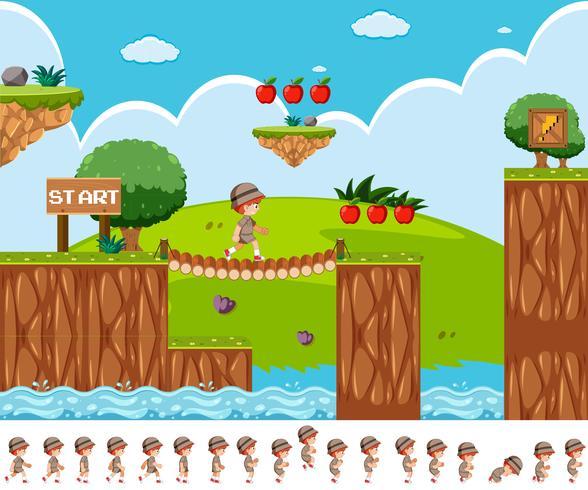 Design de jogo com o menino safari