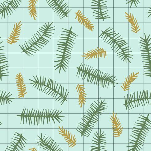 Navidad y feliz año nuevo patrón transparente con ramas de coníferas.