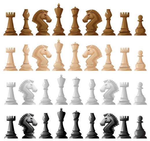 Quatre pièces d'échecs
