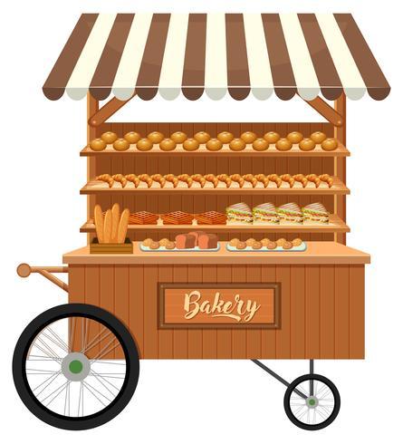 Geïsoleerde houten bakkerij kraam