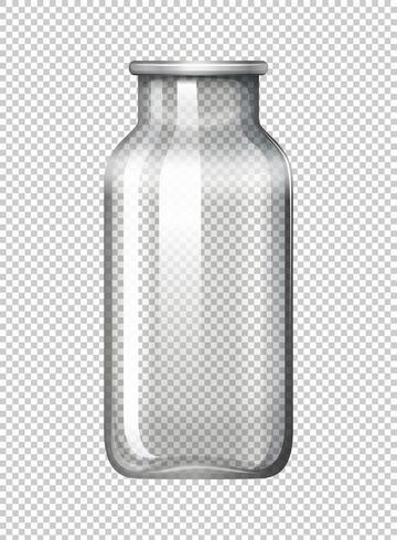 Bouteille en verre sur fond transparent