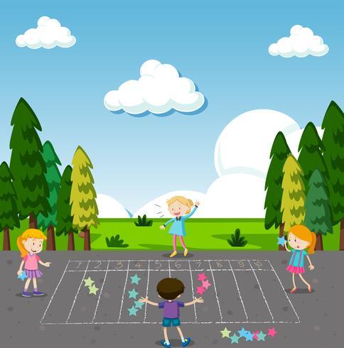 I bambini giocano a Math Game al Park
