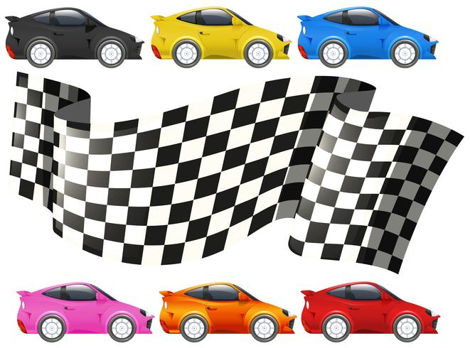 Carros de corrida e bandeira de corrida