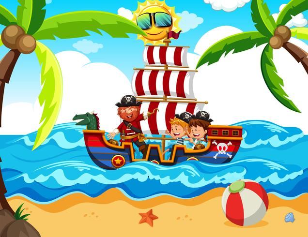 Kinderen nemen een piratentour vector