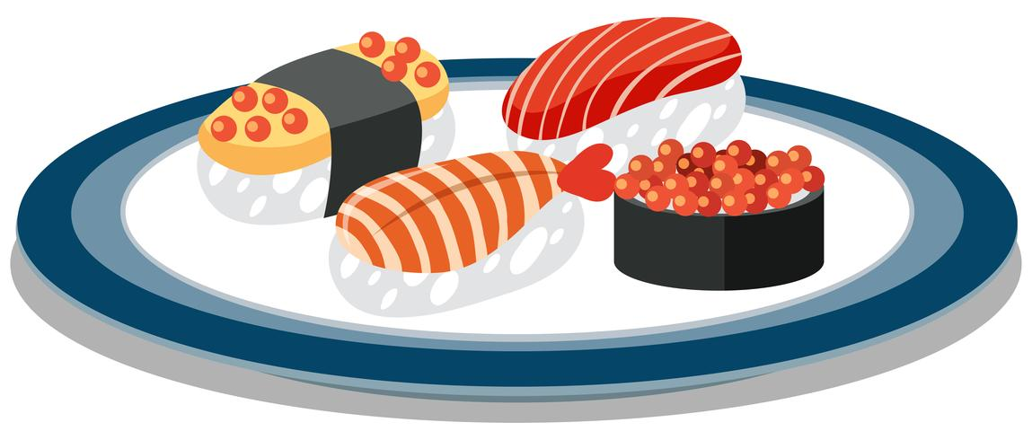 Um prato cheio de sushi japonês