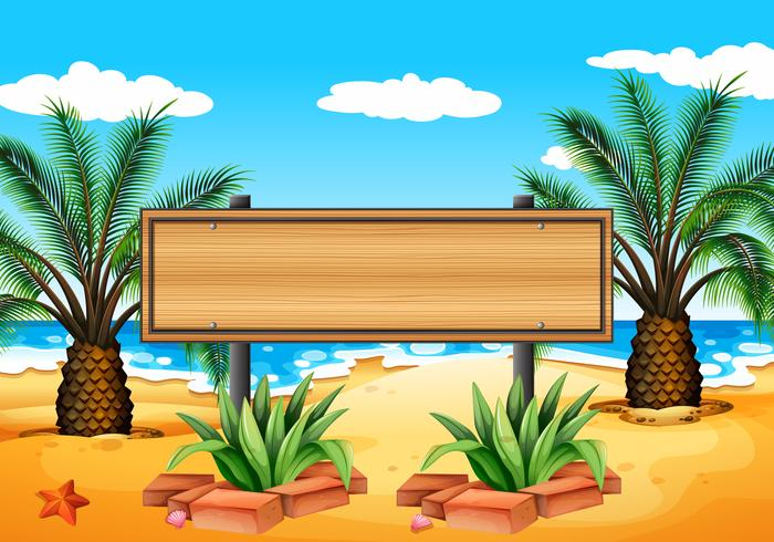 Un'insegna vuota in spiaggia