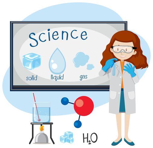 Un enseignant de science-enseignement sur l'état de la matière