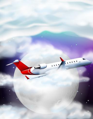 Vliegtuig die over de fullmoon bij nacht vliegen