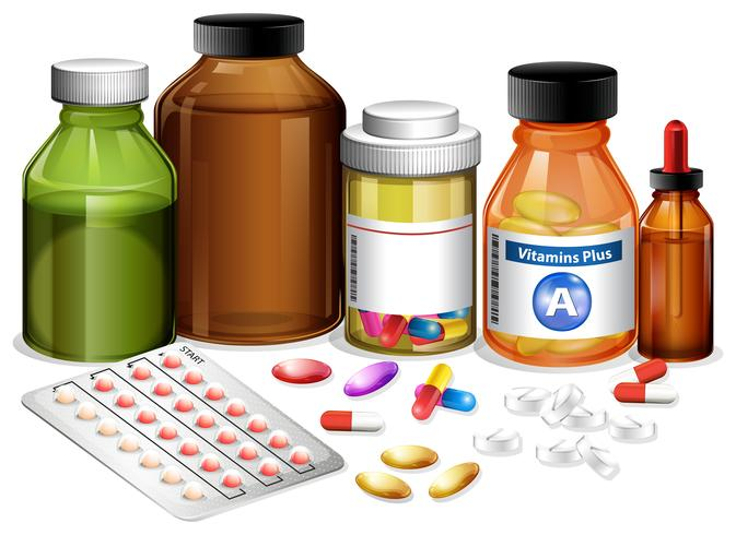 Set of various medicines