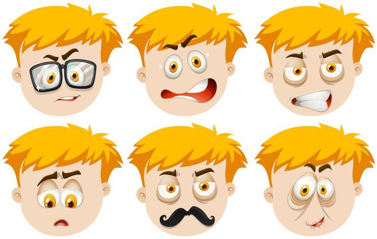 Menino, com, muitos, expressões faciais