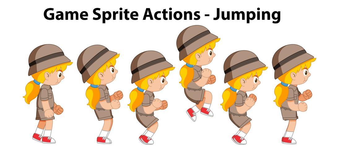 Sprite-acties van het spel springen vector