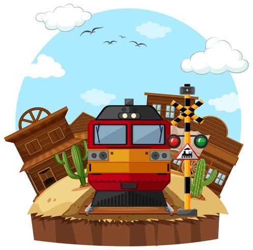 Moderne trein in de westelijke stad