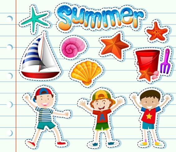 Conjunto de adesivos com crianças e itens de verão