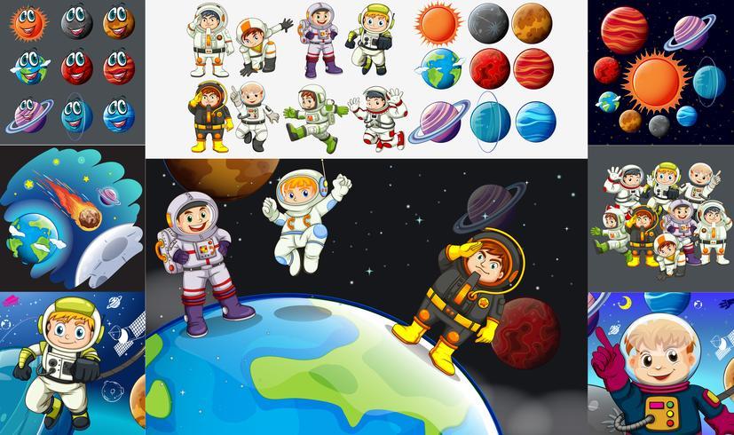 Astronauti e pianeti nel sistema solare vettore