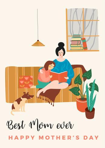 Glad mors dag. Vektor illustration med kvinnor och barn.
