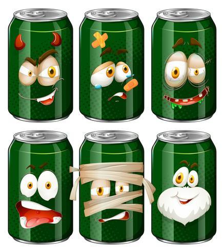Expresiones faciales en latas de refrescos.