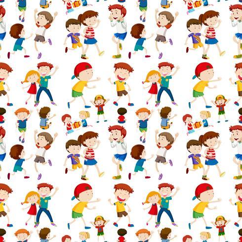 Nette Kinder auf nahtlosem Muster
