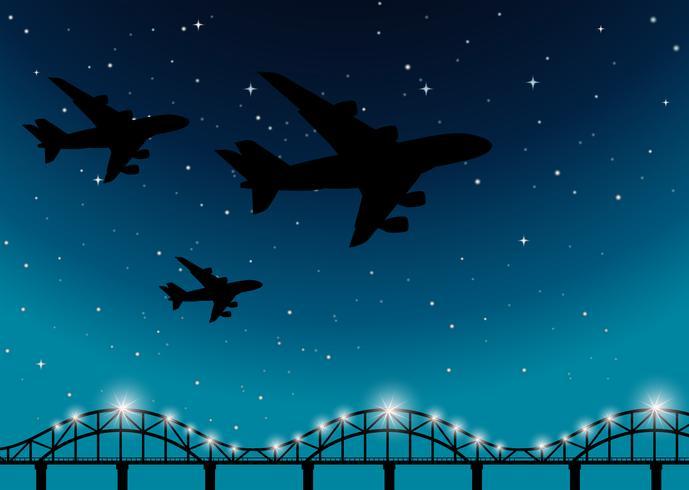 Cena fundo, com, aviões, voando, à noite